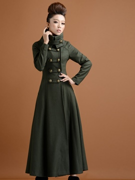 Ericdress Turtleneck Double-Breasted Coat