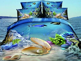 Ericdress Sea Shells Coral Print 3D Bedding Sets