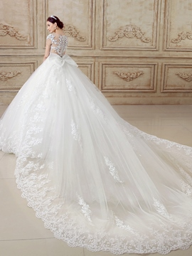 Ericdress Modest Scoop Ball Gown Lace Backless Wedding Dress