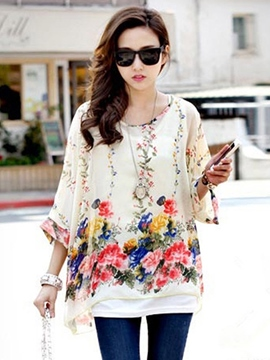 Ericdress Floral Print Loose Three-Quarter T-shirt