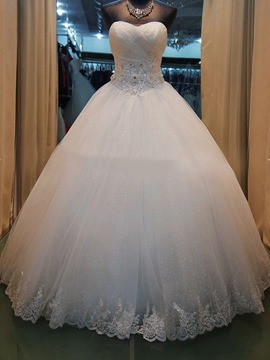 Ericdress Pretty Sweetheart Appliques Beaded Ball Gown Wedding Dress