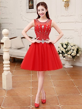 Ericdress Jewel Neck Beaded A-Line Short Homecoming Dress