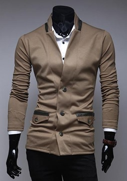 Ericdress Solid Color Single-Breasted Patch Pockets Men's Knit Coat