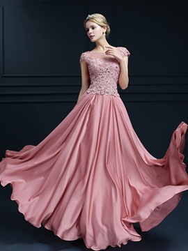Ericdress Cap Sleeve Jewel Neck Appliques Evening Dress