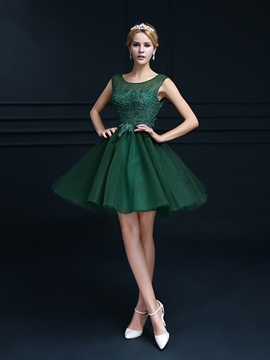 Ericdress Jewel Neck Appliques Short Cocktail Dress
