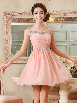 Ericdress Jewel Neck Beading Ruffles Short Homecoming Dress