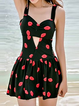 Ericdress Lips Print Hollow Swimwear