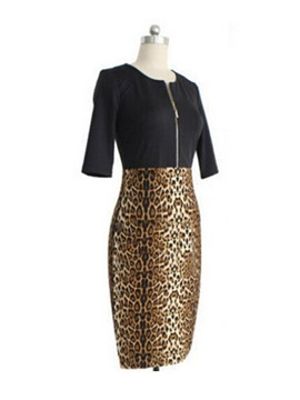 Ericdress Leopard Color Block Bodycon Dress
