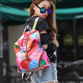 Ericdress Colorful Patchwork PU Backpack