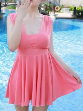 Ericdress Solid Color Pleated Swimwear
