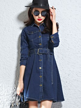 Ericdress Single-Breasted Denim Casual Dress