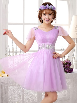 Ericdress Cap Sleeve V-Neck Short A-Line Homecoming Dress