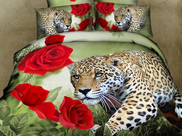Ericdress Leopard and Red Rose Print 3D Bedding Sets