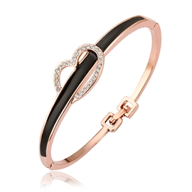 Black Match Golden and Heart Shaped Decorated Bracelet