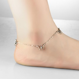 Three Lively Butterflies Decorated Anklet