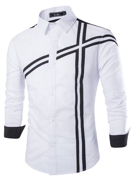 Ericdress Color Block Cross Stripes Design Men's Casual Shirt