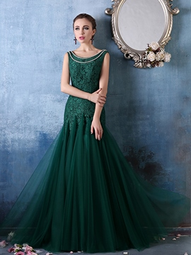 Ericdress Round Neck Lace Crystal Floor-Length Evening Dress
