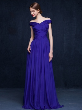 Ericdress A-Line Off-The-Shoulder Pleats Evening Dress