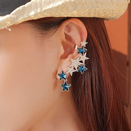 Individual Pentagram Shaped Crystal Decorated Ear Cuff