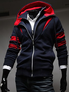 Ericdress Color Block Double-Layer Zipper Slim Men's Hoodie
