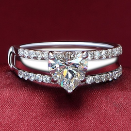 Shining Diamond Decorated Silver Ring(Primary and Secondary Ring)