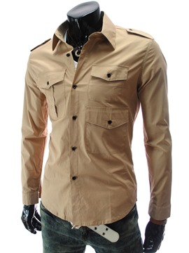 Ericdress Plain Multi-Pocket Epaulet Design Casual Men's Shirt