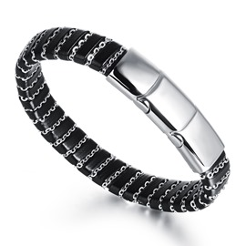 Handsome Chain Decorated Men's Bracelet