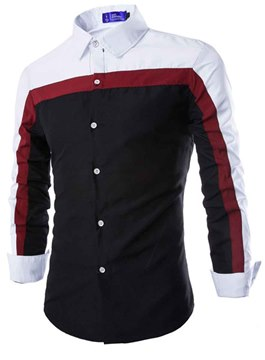 Ericdress Autumn and Spring Color Block Men's Casual Shirt