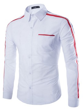 Ericdress Two-toned Striped Sleeve Men's Shirt