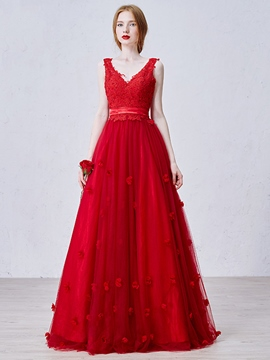 Ericdress A-Line V-Neck Appliques Long Evening Dress