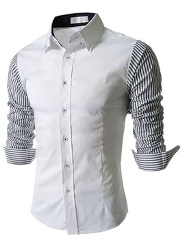 Ericdress Patched Striped Sleeves Men Shirt