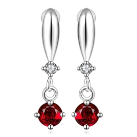 Hot Ruby Decorated Unique Earrings