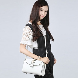 Ericdress Vintage Solid Color Rivets Shoulder Bag