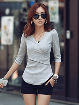Ericdress V-Neck Patchwork Plain Long Sleeve T-shirt