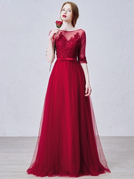 Ericdress Half Sleeves Appliques Jewel Neck Long Evening Dress