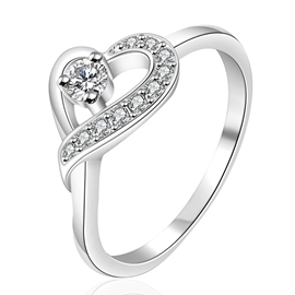 Sweet Heart Rhinestone Decorated Ring