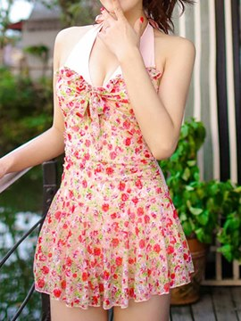 Ericdress Floral Printed Patched Halt Swimwear