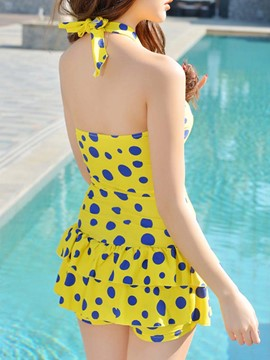 Ericdress Pleated Halt Polka Dots Falbala Swimwear