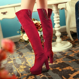 Ericdress Rivets Decorated Knee High Boots