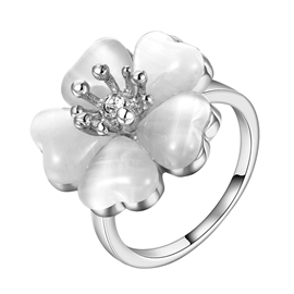 Pure Silver Flower Shaped Alloy Ring