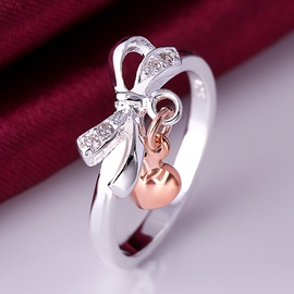 Concise Bowknot&golden Heart Decorated Ring