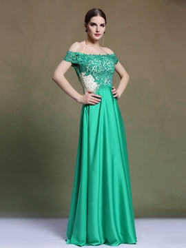 Ericdress Off-The-Shoulder Appliques Beaded Sheath Evening Dress
