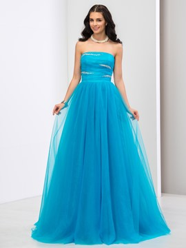 Ericdress A-Line Strapless Sequins Long Prom Dress