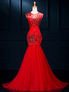 Ericdress Mermaid Cap Sleeve Beading Sequins Open Back Evening Dress