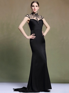 Ericdress High Neck Cap Sleeve Beaded Evening Dress
