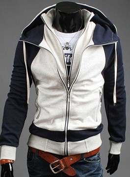 Ericdress Color Patched Double-Layer Design Zipper Men's Hoodie