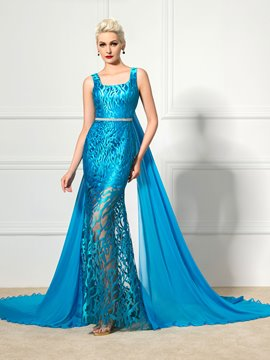 Ericdress Square Neck Lace-Up Watteau Train Evening Dress