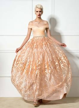 Ericdress Off-The-Shoulder A-Line Embroidery Evening Dress