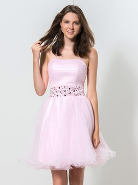 Ericdress Strapless A-Line Ruffle Sequins Homecoming Dress