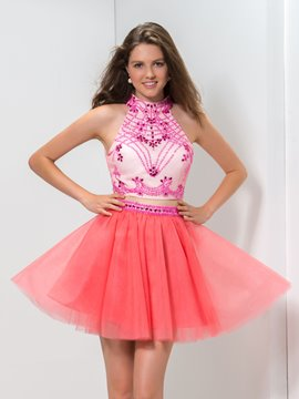 Ericdress A-Line Halter Sequins Two-Piece Homecoming Dress